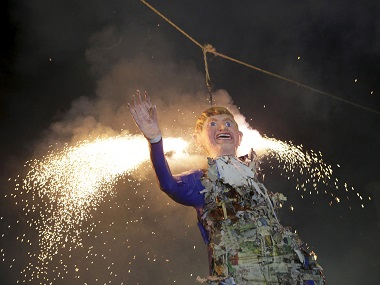 Mexicans burn an effigy of Donald Trump as they celebrate an Easter ritual late on Saturday in Mexico City. Reuters