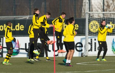 Dortmund players train ahead of Tottenham clash. AFP