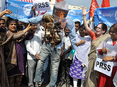 Protest by students of Hyderabad Central University opposing VC Appa Rao. AFP
