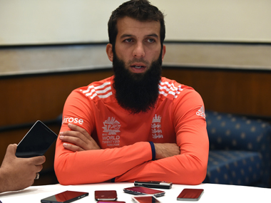 England all-rounder Moeen Ali during a news conference in Mumbai on Wednesday. AFP