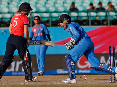 England's Heather Knight (left) stumped by India's Sushma Verma during the Women's World T20 match in Dharamsala on Tuesday. AP