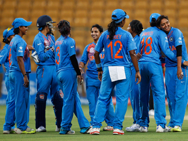 Indian women's team celebrates after beating Bangladesh during the Women's World T20 match in Bangalore last Tuesday. AP