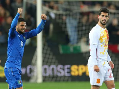Lorenzo Insigne celebrates after scoring. AP