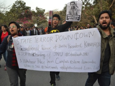 Protesting students of JNU. Image courtesy: Tarique Anwar/Firstpost