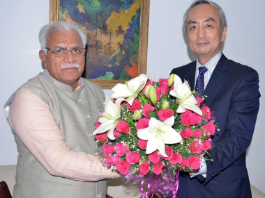 File photo of Haryana Chief Minister Manohar Lal with Japan envoy Kenji Hiramatsu. TWITTER @CMO Haryana