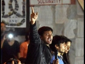 JNUSU President Kanhaiya Kumar addressing students at JNU. PTI