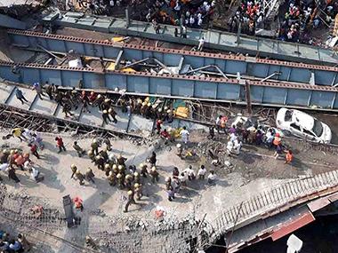 File image of the under-construction Vivekananda flyover in Kolkata. PTI