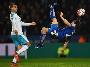 Shinji Okazaki of Leicester City scores their first goal with an overhead kick. Getty Images