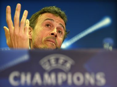 Barcelona's coach Luis Enrique speaks during a press conference. AFP