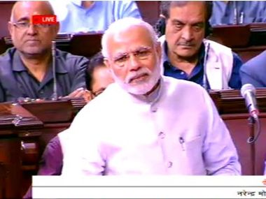 Prime Minister Narendra Modi speaking at Rajya Sabha on Wednesday. Image courtesy: ANI/Twitter