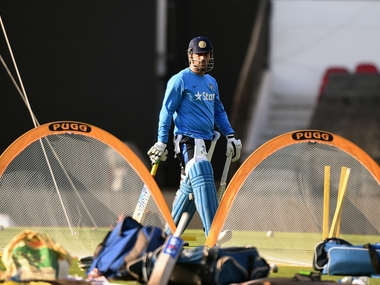 India captain MS Dhoni attends the training session at The Vidarbha Cricket Association Stadium in Nagpur on March 14 ahead of game against New Zealand. AFP