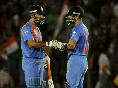 MS Dhoni (left) and Virat Kohli shared an unbeaten 67-run stand for the fifth wicket. Solaris Images
