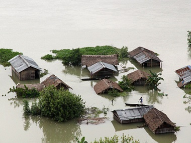 File photo of a flooded river island in the Brahmaputra river in Majuli. Reuters