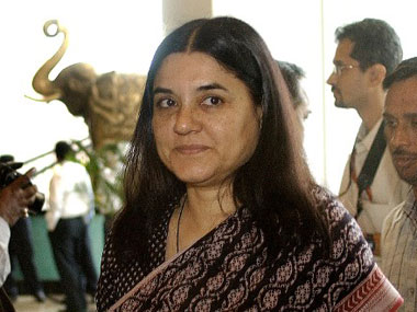 File photo of Maneka Gandhi. AFP