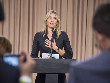 Maria Sharapova at the press conference where she announced she failed a doping test.