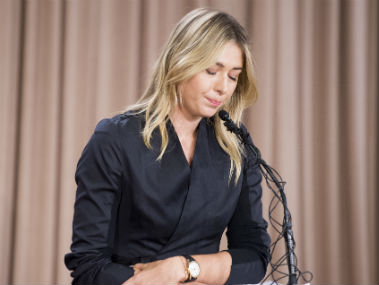Maria Sharapova during the news conference in Los Angeles on Monday. AFP
