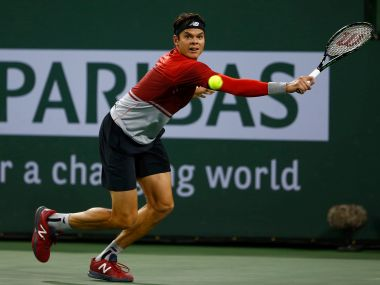 Milos Raonic of Canada in action at Indian Wells. Getty Images