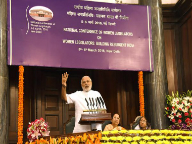 PM Narendra Modi addressing valedictory sessionn of Nationall Conference of Women Legislators in Central Hall of Parliament on Sunday. TWITTER / PIB India