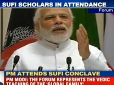PM Narendra Modi at the World Sufi Forum. Screengrab