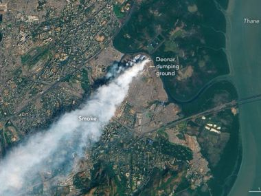 NASA released footaged of fire at Deonar dumping ground. (Image courtesy: Twitter)