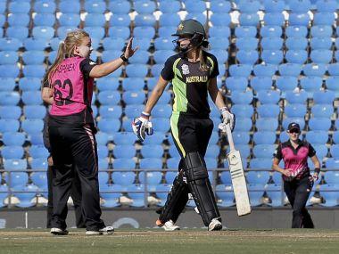 New Zealand's spinner Kasperek celebrates a Australian wicket during their WT20 clash. PTI