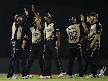 New Zealand players celebrate their win over Pakistan in Mohali on Tuesday. AFP