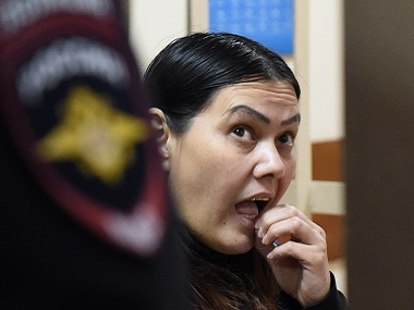 Gyulchekhra Bobokulova. AFP a nanny suspected of killing a young girl in her care, reacts inside a defendants' cage during a hearing at a court in Moscow, on March 2, 2016. AFP PHOTO / VASILY MAXIMOV / AFP / VASILY MAXIMOV