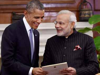 Barack Obama and Narendra Modi. PTI
