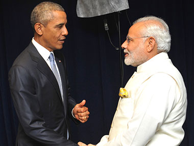 US President Barack Obama (left) with PM Narendra Modi. Image courtesy: PIB