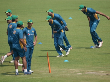 Pakistan team at training ahead of their World T20 match against Bangladesh. AFP