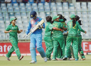 Pakistan Women celebrate after picking an Indian wicket in New Delhi. PTI