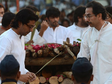 File image of Raj Thackeray and Uddhav Thackeray at Balasaheb's funeral. AFP