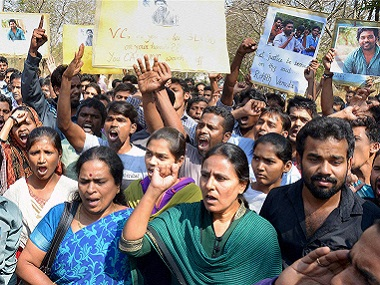 Protests after Rohith's death.  PTI