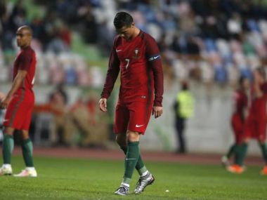 Portugal's Cristiano Ronaldo reacts against Bulgaria. Reuters