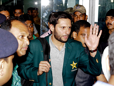 Pakistan captain Shahid Afridi on his arrival at the Kolkata airport on Sunday. AP
