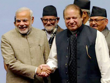 PM Narendra Modi (left) with Pakistani counterpart Nawaz Sharif. PTI