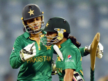 Sidra Ameen and Bismah Maroof (right) celebrate after hitting the winning runs for Pakistan Women. PTI