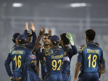 File photo of the Sri Lankan cricket team. AFP