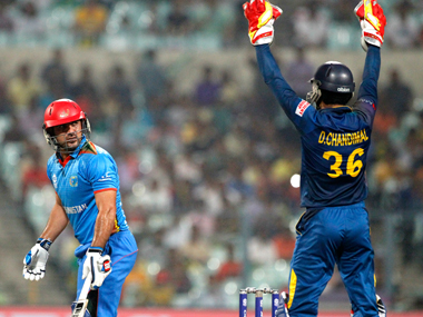 Afghanistan's Samiullah Shinwari during the match against Sri Lanka in Kolkata on Thursday. AP