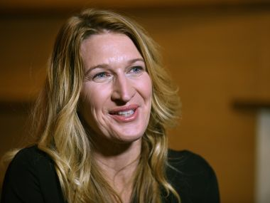 Former world number one German tennis player Steffi Graf speaks during an interview in Tokyo. AFP