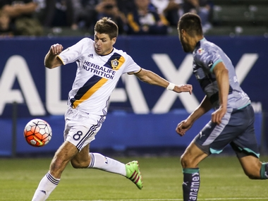 Steven Gerrard in action for LA Galaxy in CONCACAF Champions League. AP
