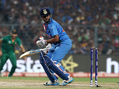 Suresh Raina gets clean bowled during the World T20 match against Pakistan on 19 March at Eden Gardens in Kolkata. Solaris Images