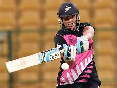 New Zealand's Suzie Bates plays a shot during the ICC Woman World T20 match against South African in Bengaluru on Saturday. PTI