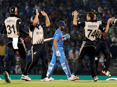 The rampant New Zealand team celebrates after dismissing another Indian batsman. PTI