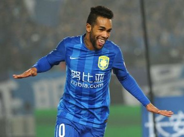 Jiangsu Suning's Alex Teixeira celebrates during the Chinese Super League. ADP