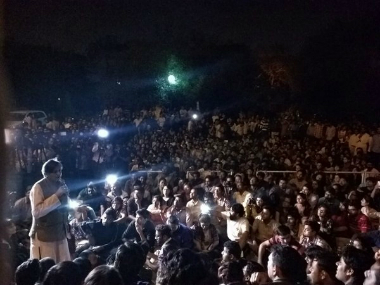 Shashi Tharoor at JNU campus on Sunday. Twitter