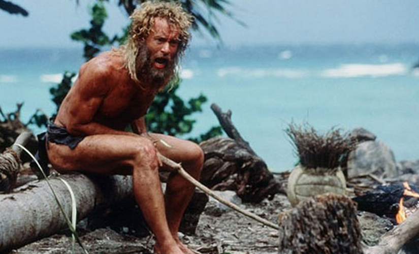 Tom Hanks in Cast Away. Screen grab from YouTube