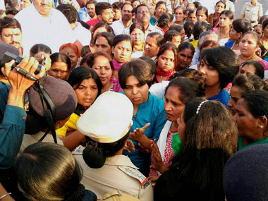 Bhumata Brigade chief Trupti Desai being detained with supporters at village Nandurshingote, about 50 kms from Nashik on Monday. She was proceeding to pilgrimage town of Trimbakeshwar in Nashik district to enter the Garbagrih of Shiva Temple. PTI