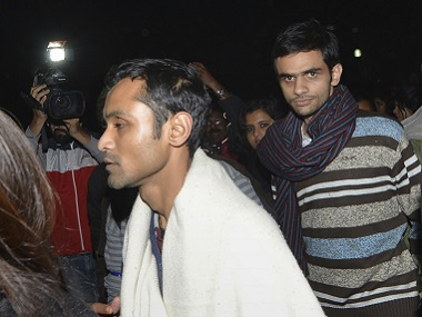 A file photo of Umar Khalid (centre) and Anirban Bhattacharya (left). AFP