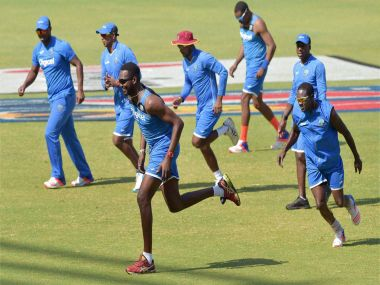 West Indies players during a practice session at Wankhede Stadium. PTI